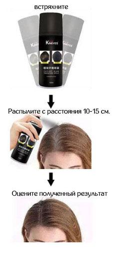 Способ применения аэрозольного загустителя волос