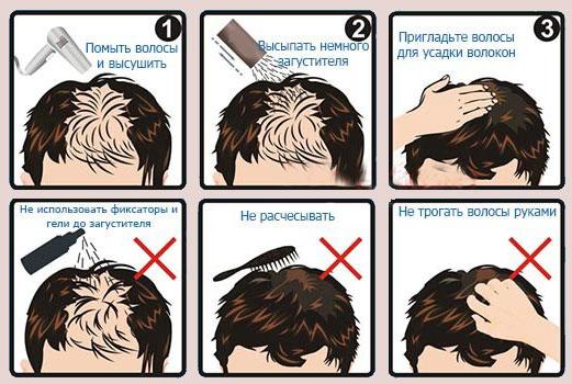 схема применения загустителя для волос